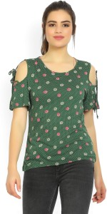 United Colors of Benetton Casual Shoulder Strap Floral Print Women's Green Top