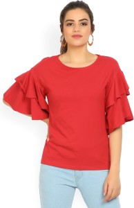 United Colors of Benetton Casual Bell Sleeve Solid Women's Red Top
