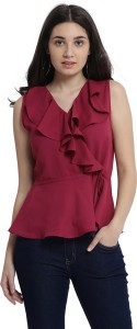 Miss Chase Party Sleeveless Solid Women's Maroon Top