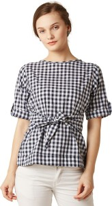 Miss Chase Casual Half Sleeve Checkered Women's Black, White Top
