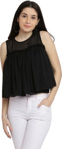 Miss Chase Party Sleeveless Solid Women's Black Top
