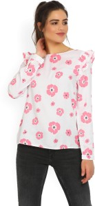 United Colors of Benetton Casual Full Sleeve Floral Print Women's White, Pink Top