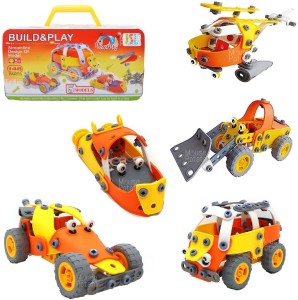 MousePotato 5 in 1 Flexible Motor Vehicle 3D Model Building Kit with Tool Box Building Blocks Assembly Toy