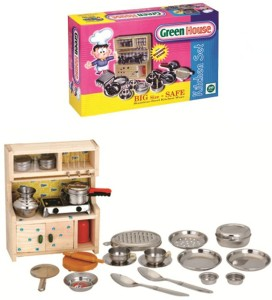 Shrih Stainless Steel Toy Kitchen Set With Wooden Stand Best Price