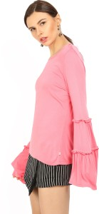United Colors of Benetton Casual Bell Sleeve Solid Women's Pink Top