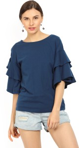 United Colors of Benetton Casual Bell Sleeve Solid Women's Blue Top