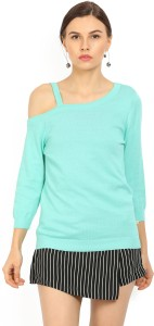 United Colors of Benetton Casual 3/4th Sleeve Solid Women's Blue Top