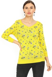 United Colors of Benetton Casual 3/4th Sleeve Floral Print Women's Yellow Top
