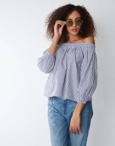 Provogue Casual Regular Sleeve Striped Women Grey Top