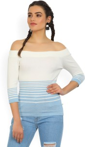 United Colors of Benetton Casual 3/4th Sleeve Striped Women's White, Blue Top