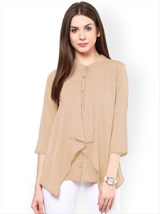 Alfa Fashion Party 3/4th Sleeve Solid Women Beige Top
