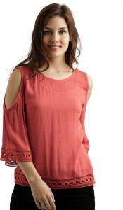 Miss Chase Casual 3/4th Sleeve Solid Women's Orange Top