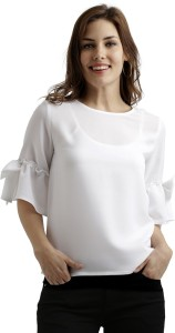 Miss Chase Formal 3/4th Sleeve Solid Women's White Top