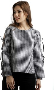Miss Chase Casual Full Sleeve Checkered Women's Multicolor Top
