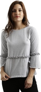 Miss Chase Casual Bell Sleeve Striped Women's Multicolor Top