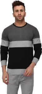 Weardo Striped Men Round Neck Silver, Grey, Black T-Shirt