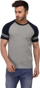 Weardo Striped Men Round Neck Grey, Dark Blue T-Shirt