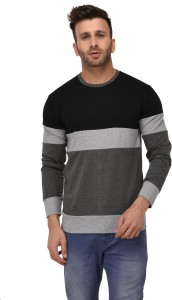 Weardo Striped Men Round Neck Black, Grey, Silver T-Shirt