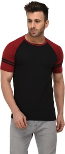 Weardo Striped Men Round Neck Black, Maroon T-Shirt