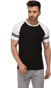 Weardo Striped Men Round Neck Black, White T-Shirt