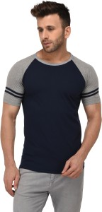 Weardo Striped Men Round Neck Dark Blue, Grey T-Shirt