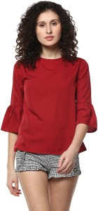 Mayra Casual Short Sleeve Solid Women Red Top
