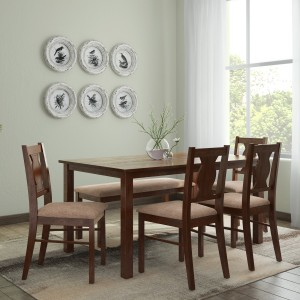HomeTown Artois Solid Wood 6 Seater Dining Set Finish Color   Dark Walnut