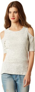 Miss Chase Casual Half Sleeve Solid Women's White Top