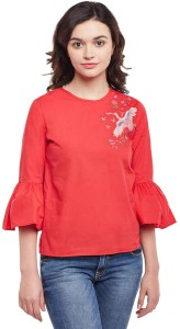 Oxolloxo Casual 3/4th Sleeve Embroidered Women Red Top