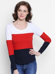 The Dry State Striped Women's Round Neck Red T-Shirt