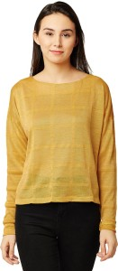Miss Chase Casual Full Sleeve Solid Women's Yellow Top