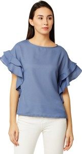 Miss Chase Casual Half Sleeve Solid Women's Blue Top