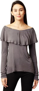 Miss Chase Casual Full Sleeve Solid Women's Grey Top