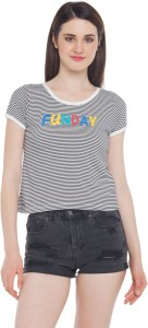 Honey By Pantaloons Casual Short Sleeve Striped Women Black Top