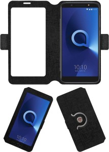 ACM Flip Cover for Alcatel 3x Black, Cases with Holder, Artificial Leather