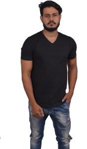 Roden Solid Men's V-neck Black T-Shirt