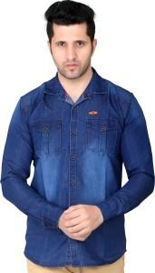 meraki Men Solid Casual Denim Blue Shirt
