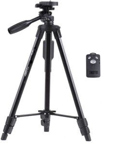4Desire Yunteng VCT 5208 Professional Lightweight Aluminum Portable Tripod Stand 3 Way Head For Digital Camera Camcorder, Nikon Sony Canon DSLR, GoPro, Action Camera, and Smartphone with Mobile holder Tripod, Tripod Kit, Tripod Ball Head with Bluetooth Remote Shutter Tripod
