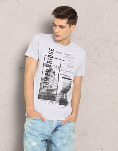 Metronaut MSS18CN047A-Grey Printed Men's Round Neck Grey T-Shirt