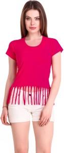 Subu Casual Half Sleeve Stylised Women Pink Top