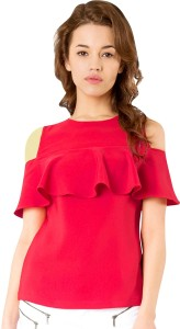 Phashion Town Casual Half Sleeve Solid Women's Pink Top