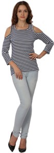 Rute Casual 3/4th Sleeve Striped Women's Blue, White Top
