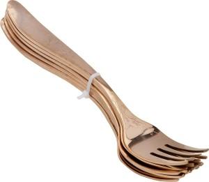 Awkenox Sanjeev Kapoor Premium Stainless Steel ARC Dessert Fork Cutlery Set in Embossed Rose Gold Finish 6 Pcs Set Stainless Steel Dessert Fork Set