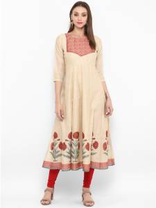 Bhama Couture Women's Floral Print Flared Kurta