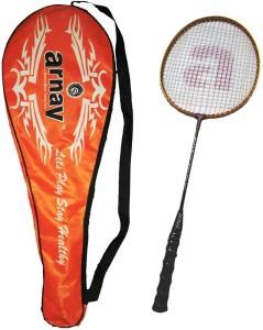 Arnav Light Weight High Tempered Steel Shaft Badminton Racquet With Full Cover Multicolor Strung Badminton Racquet