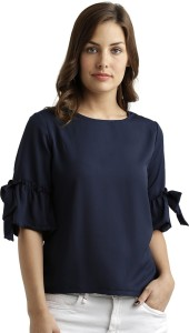 Miss Chase Formal 3/4th Sleeve Solid Women's Blue Top