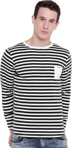 GHPC Striped Men Round Neck Black T-Shirt