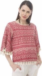 Arv Fashion Casual 3/4th Sleeve Animal Print Women's Maroon Top