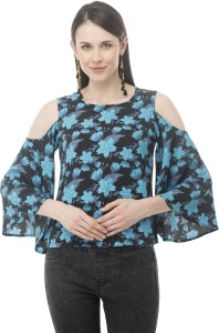Arv Fashion Casual 3/4th Sleeve Polka Print Women's Light Blue Top