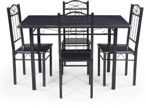 Royaloak Sonnet Metal 4 Seater Dining Set Finish Color Black Best